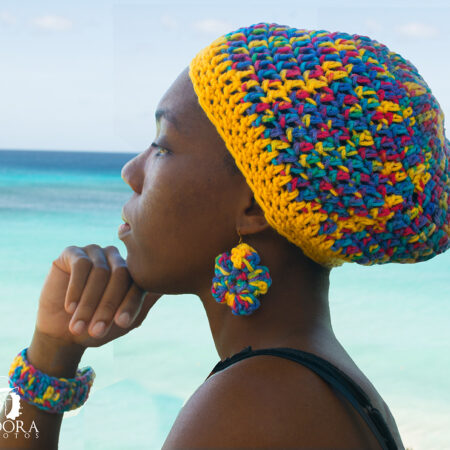 Elaine's - Caribbean Crochet Adult Tams and Earrings